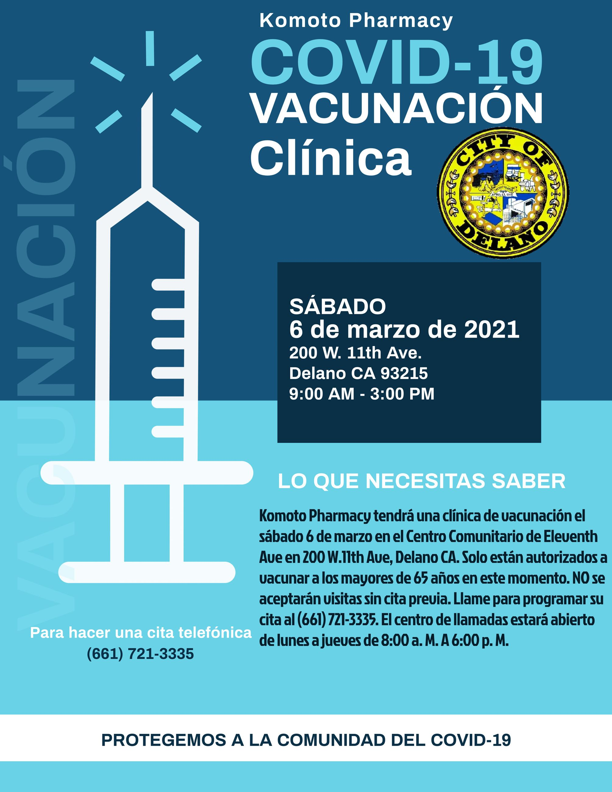 Spanish COVID-19 Vaccination Clinic Flyer